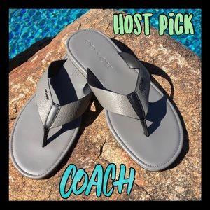 🔥NWT🔥Authentic COACH men's leather flip flops